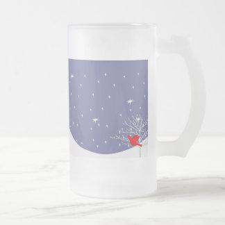 Red Christmas Bird 16 Oz Frosted Glass Beer Mug