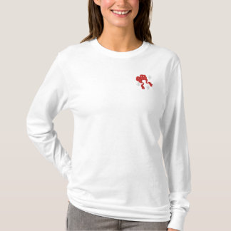 Red christmas bow embroidered women's shirt