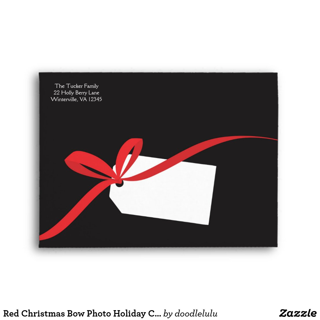 Red Christmas Bow Photo Holiday Card Envelope