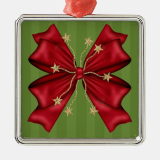 Red Christmas bow with gold stars Metal Ornament