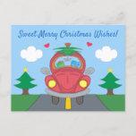 Red Christmas Bug Car Milo Blue Cat Cartoon Holiday Postcard