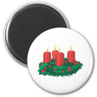 Red Christmas Candles 2 Inch Round Magnet
