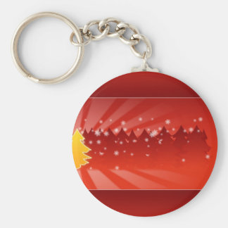 Red Christmas Card Background Key Chains