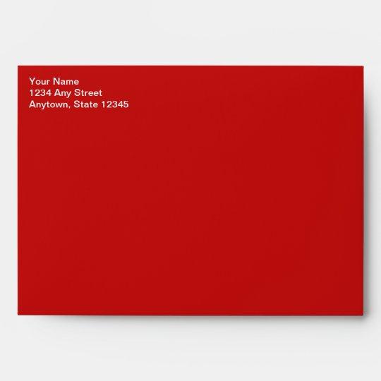 Red Christmas Card Envelope W/ Return Address