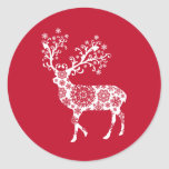 Red Christmas card with reindeer Classic Round Sticker