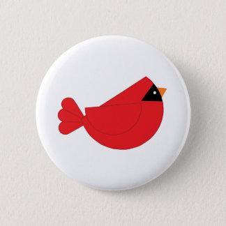 Red Christmas Cardinal Bird Pinback Button