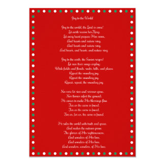Red Christmas Carol Joy To The World Cards