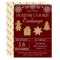 Red Christmas Cookie Exchange Party Invitation
