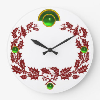 RED CHRISTMAS CROWN WITH HOLLY BERRIES , EMERALDS LARGE CLOCK