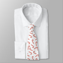 Red Christmas Cute Candy Cane Pattern Holiday Neck Tie