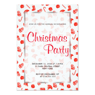 Red Christmas Cute Pattern Holiday Party Card