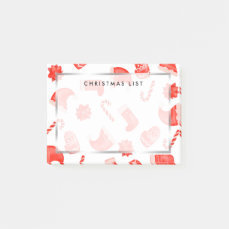 Red Christmas Cute Pattern Holiday Post-it Notes