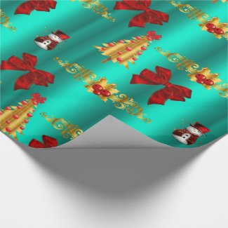 Red Christmas Decorative Aqua Wrapping Paper