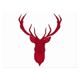 Red Christmas deer with abstract geometric pattern Postcard