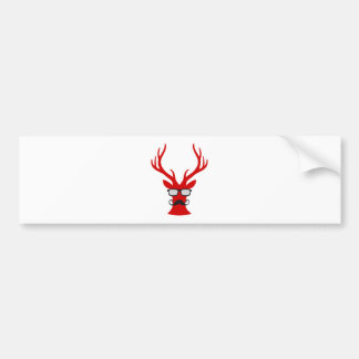 Red Christmas deer with mustache and nerd glasses Bumper Sticker