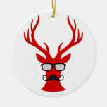 Red Christmas deer with mustache and nerd glasses Christmas Tree Ornaments