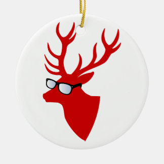 Red Christmas deer with nerd glasses Double-Sided Ceramic Round Christmas Ornament