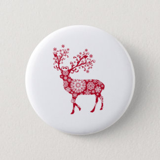 Red Christmas deer with snowflakes Button