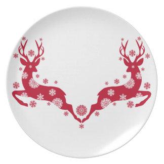 Red Christmas deers Dinner Plate
