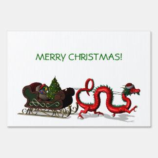 Red Christmas Dragon Signs