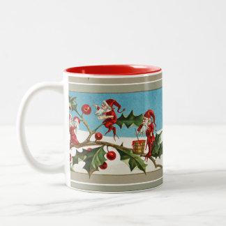 RED CHRISTMAS ELVES,HOLLYBERRIES Two-Tone COFFEE MUG