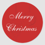 Red Christmas Envelope Seals with Ornaments Round Sticker