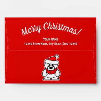 Red Christmas envelopes with cute Santa Claus bear