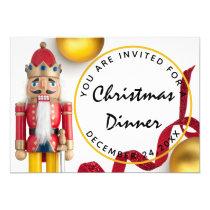 Red Christmas Eve Dinner White gold Nutcracker Invitation