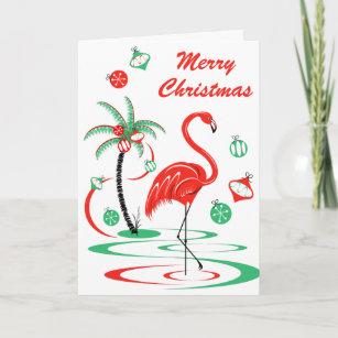 Flamingo Christmas Cards.Red Christmas Flamingo Merry Christmas Portrait Holiday Card