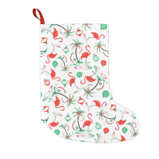 Red Christmas Flamingo Multi stocking one-sided