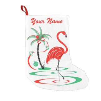 Red  Christmas Flamingo Name stocking one sided