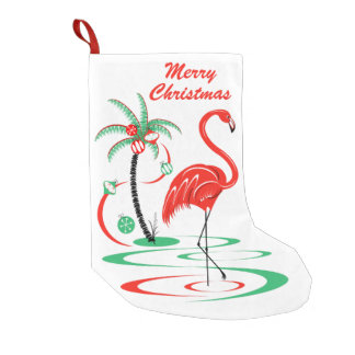 Red  Christmas Flamingo Text stocking one sided