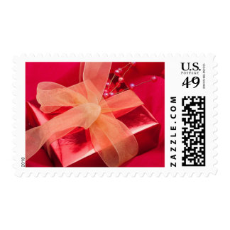 Red Christmas Gift Postage Stamp