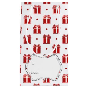 red christmas gifts winter holidays pattern small gift bag