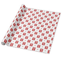 red christmas gifts winter holidays pattern wrapping paper