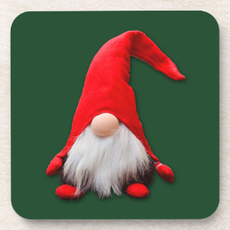 Red Christmas Gnome on Green Drink Coaster