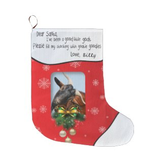 Red Christmas Goat ADD YOUR GOAT Photo Large Christmas Stocking
