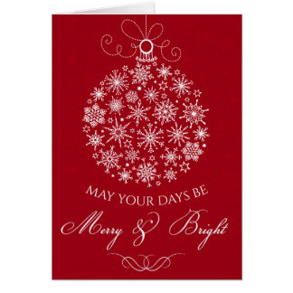 Red Christmas greeting card Merry and Bright