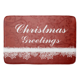 Red Christmas Greetings Snowflakes Bath Mats
