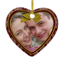 red christmas heart photo ornament