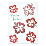 Red Christmas Hibiscus 5x7 Paper Invitation Card