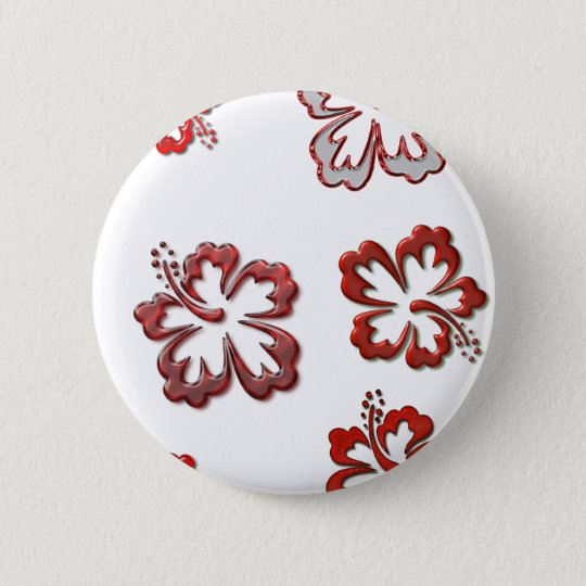 Red Christmas Hibiscus Button