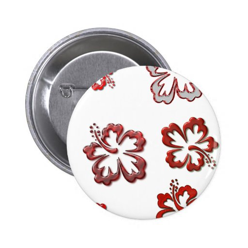 Red Christmas Hibiscus Pinback Button