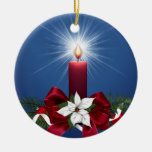 Red Christmas Holiday Candle Double-Sided Ceramic Round Christmas Ornament