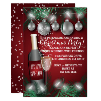 Red Christmas Holiday Dinner Party Invitations