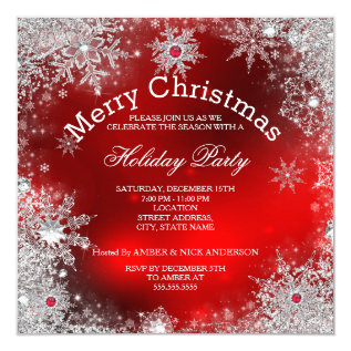 Red Christmas Holiday Party Winter Wonderland Card at Zazzle