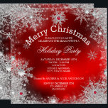"""Red Christmas Holiday Party Winter Wonderland Invitation<br><div class=""""desc"""">Christmas Holiday Party Winter Wonderland Red Pearl. Merry Christmas,  Xmas Red Silver Pearl Winter Wonderland Snowflakes.   Zizzago created this design PLEASE NOTE all flat images! They Do NOT have real Glitter,  Diamonds Jewels or real Bows!!</div>"""