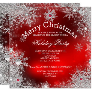 Red Christmas.Red Christmas Holiday Party Winter Wonderland Invitation