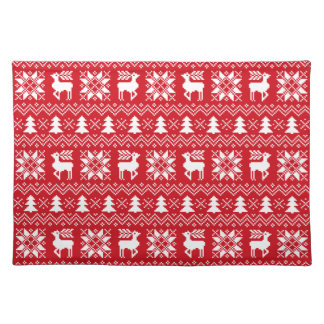 Red Christmas Holiday Sweater Pattern Cloth Placemat