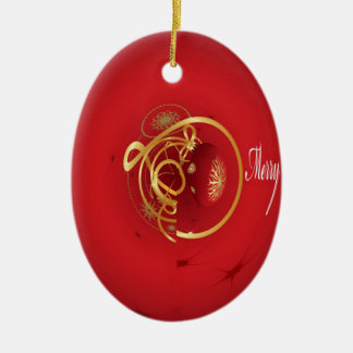 Red Christmas Jingle Bells Have a Blessed Nice Day Ceramic Ornament